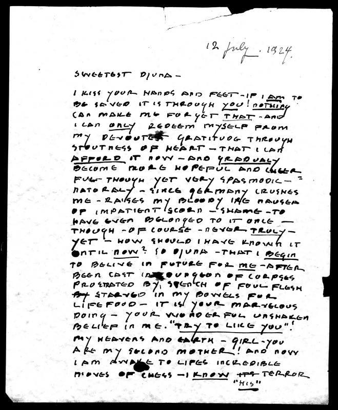 A Letter Praising Djuna Barnes